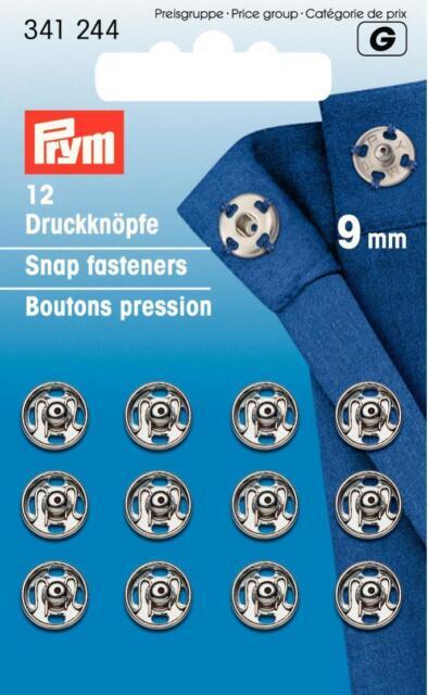Prym 12 Druckknöpfe zum Annähen 9 mm silberfarbig 341244