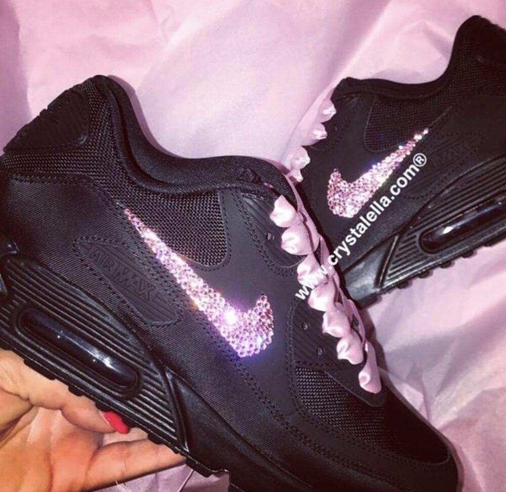 Personnalisé années Crystal nike air max années Personnalisé 90 en noir NIKE Swarovski Crystal Baskets- Chaussures de sport pour hommes et femmes 4baa6c