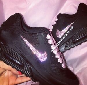 Details about Crystal Nike Air Max 90's Black Nike Swarovski Crystal Trainers show original title