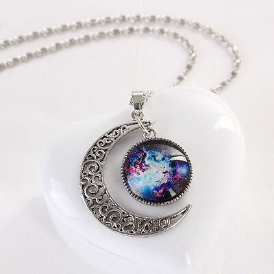 Fashion Galaxy Cabochon Moon Pendant Chain Beauty Necklace Fortune Gifts Great