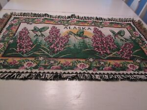 Tapestry-Woven-Alaska-Wall-Hanging-Fringe-Humming-Birds-38-034-Wide-21-034-Tall-Floral