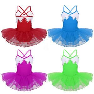 Kids-Girls-Strap-Ballet-Leotard-Dance-Tutu-Dress-Gymnastics-Dancewear-Costume