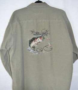 RedHead-Olive-Green-Shirt-Fish-Embroidered-Back-Button-Front-Cotton-Men-039-s-XXL