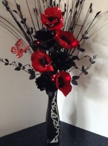 Artificial silk flower arrangement in red poppies in black modern image is loading artificial silk flower arrangement in red poppies in mightylinksfo