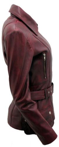 cuir bordeaux pour motarde Veste en vintage femme longue wTxRUFIUq