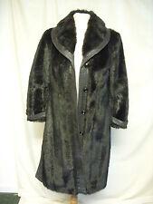 """Ladies Coat Dannimac black faux mink & faux leather, bust 34-36"""", some wear 2229"""