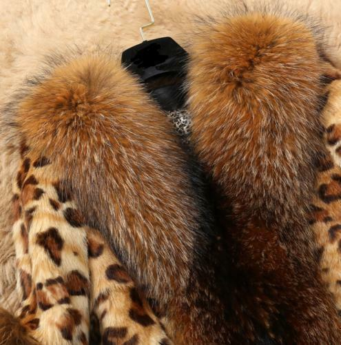 Womens Fur Leopard Jacket Winter Coat Mid Long Snow Warm Parka Outwear Overcoat