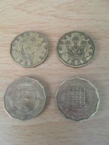 4-X-Old-three-pence-3p-Coin-circulated-1942-1943-1964-1964