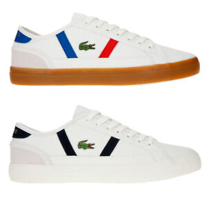Lacoste-Mens-Sideline-119-Lace-Ups-Leather-Canvas-White-Trainers-Casual-Shoes
