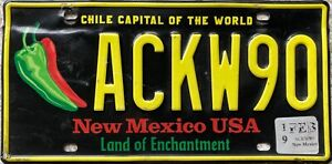 New Mexico Chile Capital of World American Licence License Number Plate ACKW90