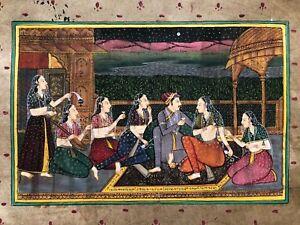 Original-Indian-Miniature-Painting-Harem-Love-Scene-Rajasthani-Handmade-Folk-Art