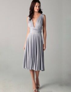 5231287c03e Image is loading Two-Birds-Convertible-Dress-Short-Straight-Silver-Gray-