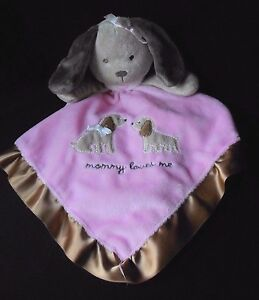 NWT Carters Mommy Loves Me Brown Pink Elephant Security Blanket Lovey Baby Toy