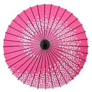 Giapponese-Carta-Ombrello-Wagasa-Rosa-Sakura-Artigianale-Bamboo-Frame-da