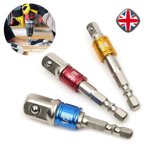3* Drill Socket Adaptor Hex Drive To 1/4 3/8 1/2 Impact Drill BIts Driver Kit