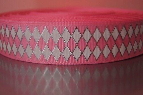 1653 cuadros en rosa 25mm ancho grosgrain cenefa webband