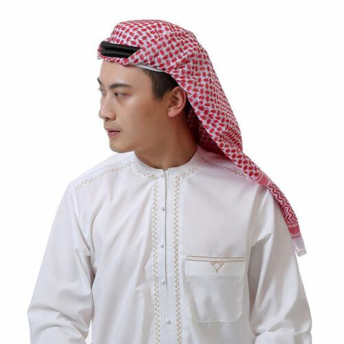 Muslim Men Headscarf Arabic Middle Eastern Pattern Turban Cover Shawls Head Wrap
