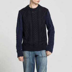 J W Anderson X Uniqlo Jwa Chunky Fisherman Cable Men S Wool Sweater M Nvy Nwt Ebay