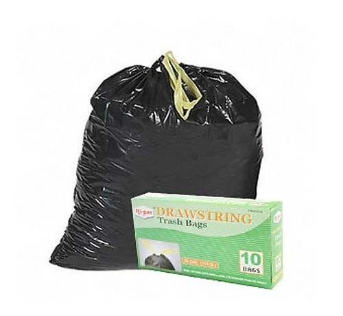 240~ 30 gallon Drawstring Black Large Garbage Trash Can Liner Bags Waste Clean