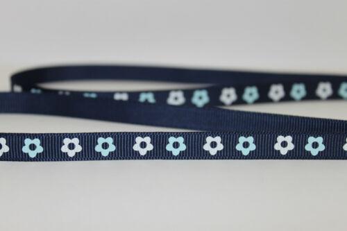 Bleu marine fleur motif imprimé ruban parfait pour tous les décorer fins