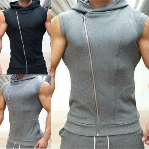 Sleeveless Men Hoodie Vest Fitness Zipper Sweatshirt Bodybuilding Sport Topcoat