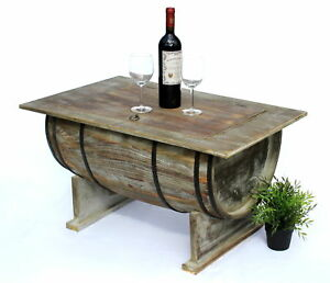 Dettagli su Tavolo Botte di Vino 5084-H Tavolino da Salotto Legno 80cm  Barile Portabottiglie