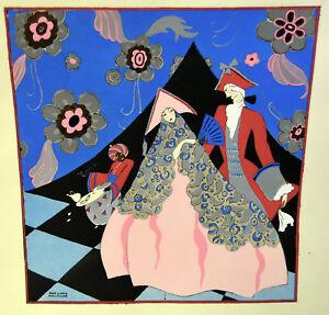 1930s French Pochoir Print Edouard Halouze Art Deco Princess Monkey Servant XL