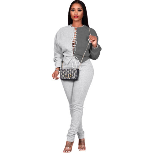 Women Long Sleeves Colors Patchwork Bandage Sweats Casual Pants Set Two Piece