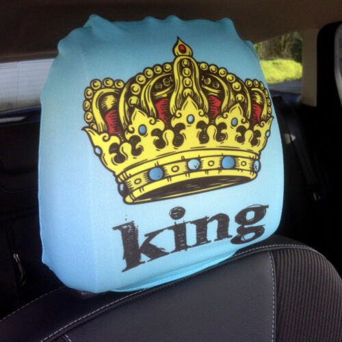 King Blue /& Queen Pink Design Car Seat Head Rest Covers Pack Of Two Accessory 1