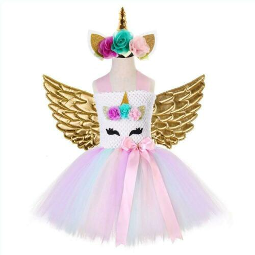 Princess Baby Unicorn Tulle Dress For Girls Tutu Skirt Fairy Party Kids Clothes