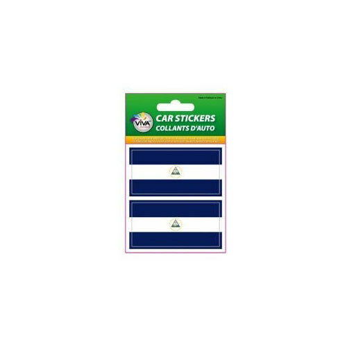NICARAGUA SET OF 2 COUNTRY FLAG VINYL CAR STICKERS..1 3//8 X 2 3//4 INCH