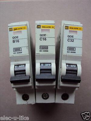 16 A 20 A 10 A 6 A type B 10K BS 60898 Square D qoe S.P MCB 63 A 32 A