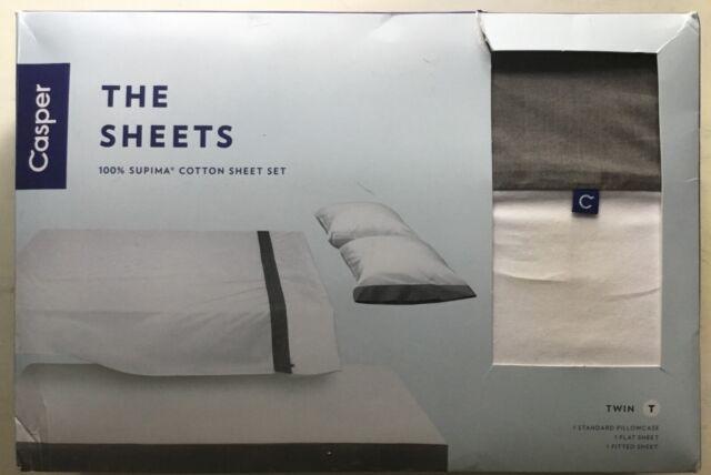 NEW Casper The Sheets Twin 100% Supima Cotton 3 Piece Set ~ White & Gray ~