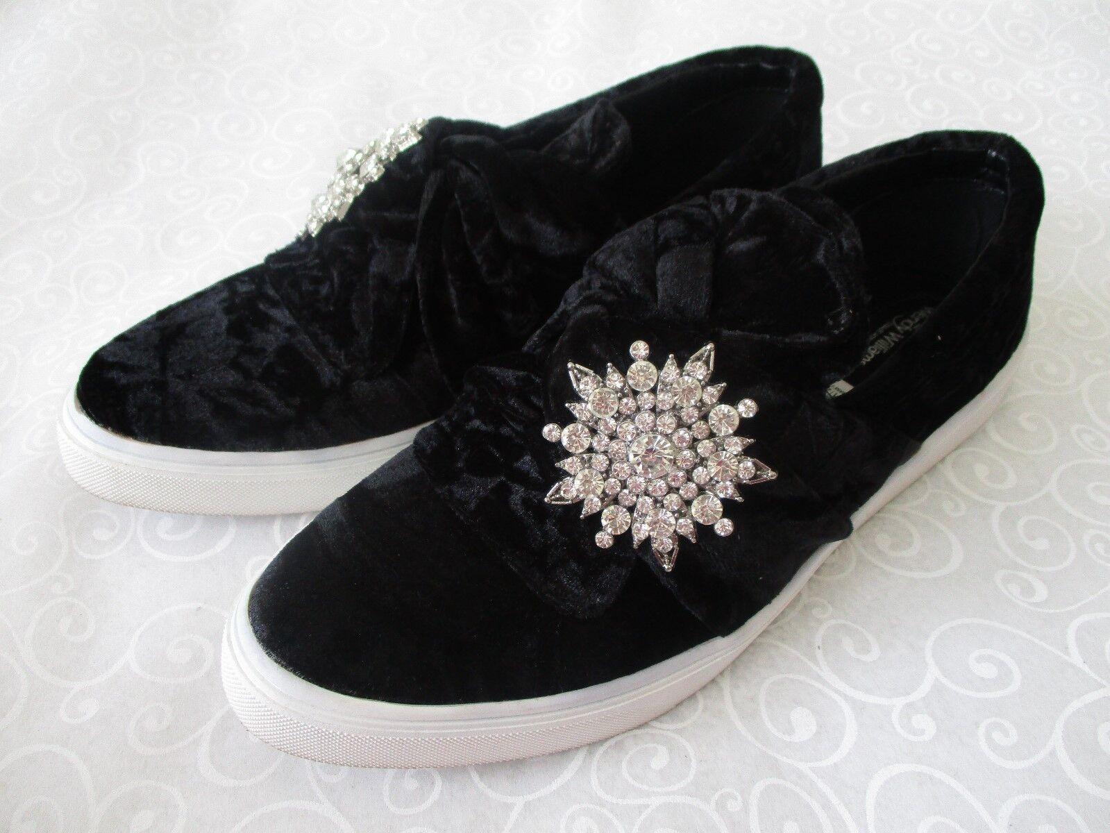 WENDY WILLIAMS BLACK SNEAKER KNOT FACETED BROOCH VELVET \10 Schuhe SIZE \10 VELVET W - NEW 0403f7