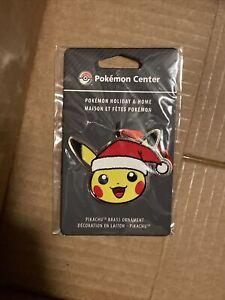 """Pokemon Center - Pikachu Pokémon Holiday Brass Christmas Ornament 2"""" Santa Hat"""