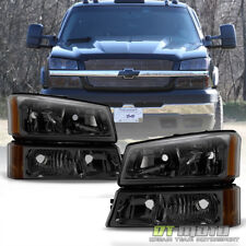 Smoked 2003-2006 Chevy Silverado Headlights + Bumper Signal Lamps 03 04 05 06