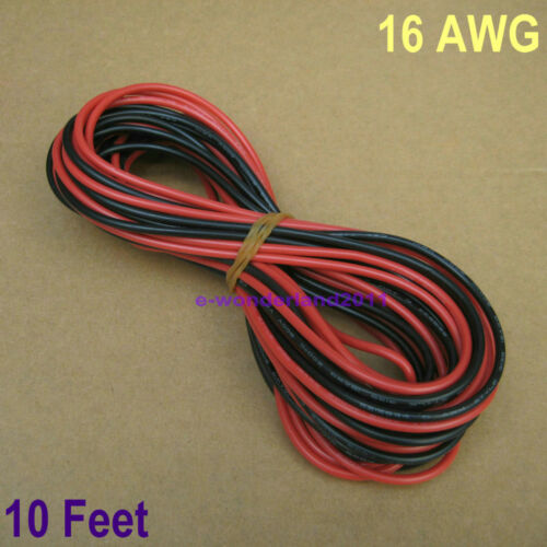 16 AWG Gauge 16 10 ft Noir Rouge 3 m environ 3.05 m Doux Flexible Silicone Wire Servo Wire