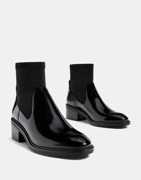 botas stivaletti    quadrato 8 cm negro lucido comodi eleganti simil pelle 1626  a precios asequibles