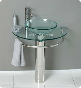 modern bathroom vanities pedestal vessel glass furniture sink w bath faucet 01 ebay