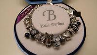 Bella Perlina Wishdream Silver Charm Bracelet Black Beads $125 + Free Gift