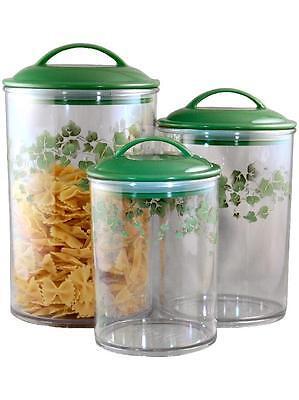 3 CORELLE Coordinates CALLAWAY IVY Acrylic CANISTER/NESTING Storage Jar Set *NEW