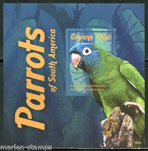 GUYANA PARROTS OF SOUTH AMERICA SOUVENIR SHEET I IMPERFORATED MINT NH