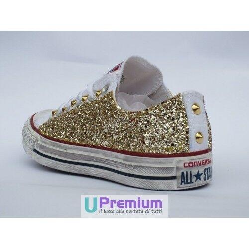 Converse All Star Glitter Borchiate Basse Bianche Oro Zapatos Borchiate Glitter Handmade Borchie Uo 6a7563