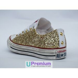 Converse All Star Glitter Basse Bianche Oro Scarpe Borchiate Handmade Borchie Uo