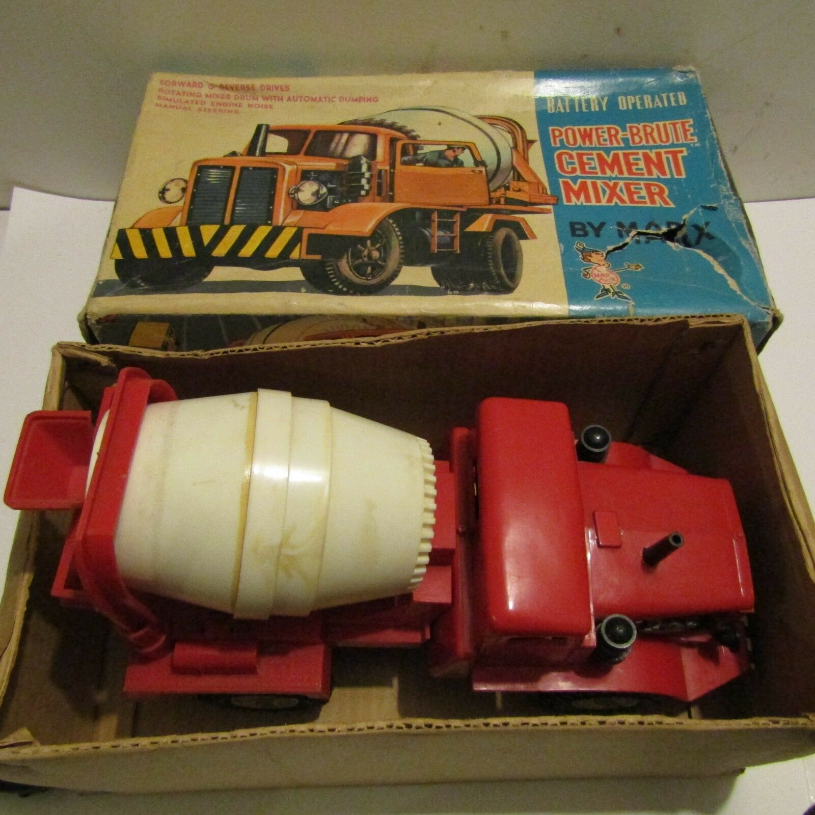 Boxed vintage Marx battery operated toy cement mixer Hong Kong