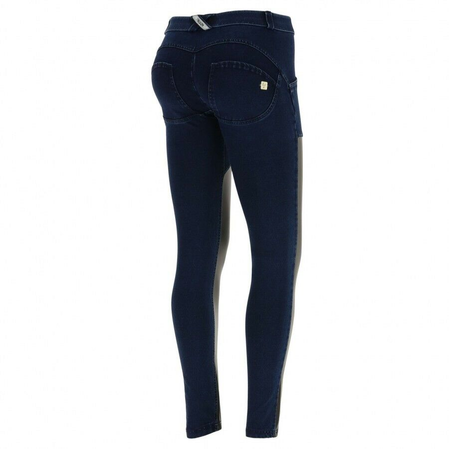FREDDY WR.UP® SHAPING EFFECT WOMEN PANT - SKINNY FIT - DENIM+COATED FAUX LEATHER
