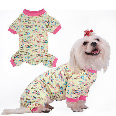 New Small Pet Dog Pajamas Coat Cat Puppy Clothes Apparel Jumpsuit Costume S-XXL