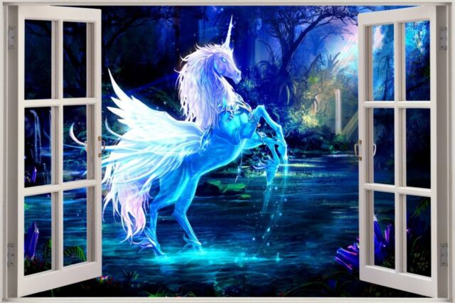 Huge 3D Window Fantasy Unicorn Pegasus View Wall Stickers Decal Wallpaper Mural