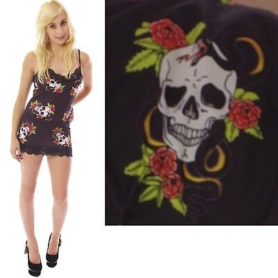 GOTHIC SKULL ROSES /& SERPENT LONG VEST DRESS TOP GOTH punk ALTERNATIVE EMO