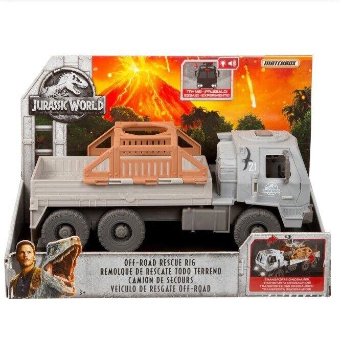 Jurassic World 2 Fallen Kingdom Off-Road Rescue Rig Dinosaur Vehicle Matchbox